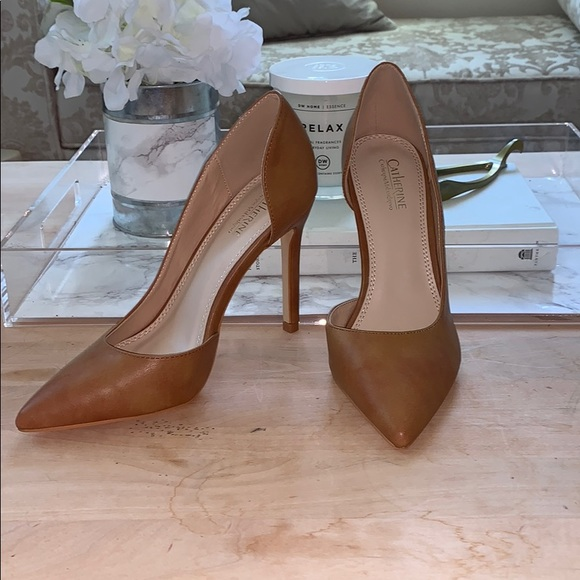 Brand New Cognac Pointed Toe Pumps